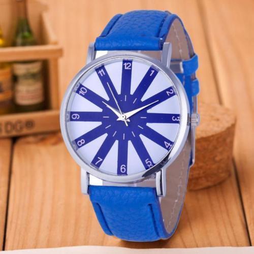 Ladies Fashion Sliver Case Quartz Blue & White Face Blue Band Wrist Watch.