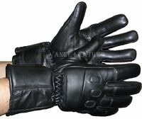 Insulated Gauntlet 7 Sizes - Leather Motorcycle Riding Gloves Padded Knuckles