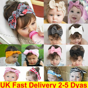 Girls Baby Bunny Bow Hairband Headband Stretch Turban Knot Head Wrap For Kids