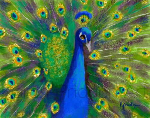 ACEO ATC Art Card Painting Print Signed Bird Peacock Peacocks Nature Animals