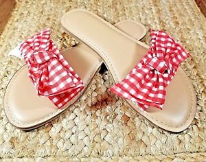 Time-and-Tru-Women-s-Red-Checkers-Brown-Slipon-Footbed-Sandals-Bow-Many-Sizes
