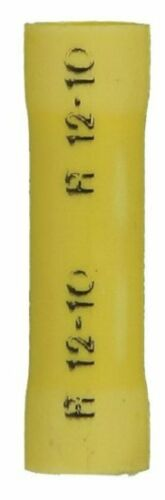 Yellow Vinyl Insulated Butt Splice Connectors 12-10 GAUGE