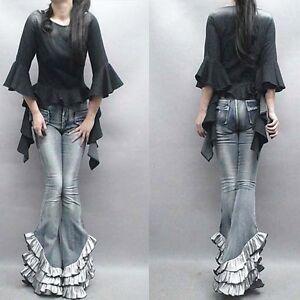 Womens-Retro-Denim-Jeans-Loose-Fit-Wide-Leg-Suspender-Pants-Fishtail-Trousers