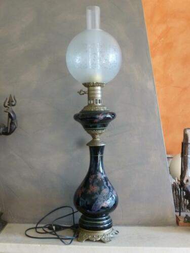 paon oiseau du paradis GRANDE LAMPE BRONZE /& FAIENCE 83.5cm