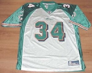Ricky-Williams-34-Miami-Dolphins-Throwback-Jersey-XL-Teal-White-Reebok-NFL