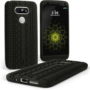 Black-Tyre-Silicone-Gel-Skin-Case-for-LG-G5-H850-Rubber-Cover-Screen-Protector