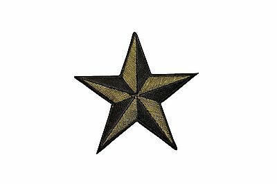 3 INCH Gold Black Nautical Star Embroidered Iron on Applique Patch FD