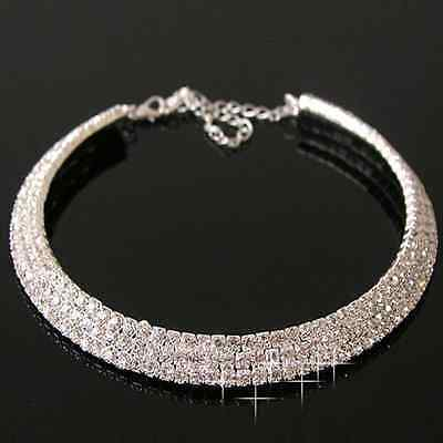 STATEMENT NECKLACE 3 ROW CRYSTAL DIAMANTE CHOKER WEDDING PROM CLEAR CHUNKY BLING