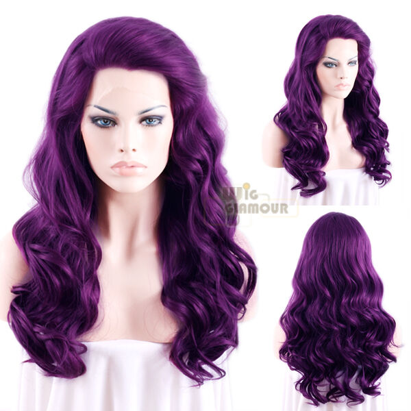 "Long Curly Wavy 24"" Dark Purple Lace Front Wig"