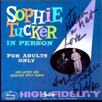 SOPHIE TUCKER - IN PERSON - MERCURY LP - INSCRIPTION BY SOPHIE TUCKER