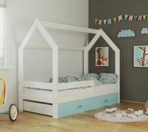 Children-Toddler-Junior-House-Bed-Frame-80x160-Mattress-Storage-Drawer-Slatted