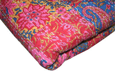 New KING Vintage Indian Sari patch Handmade Kantha Quilt