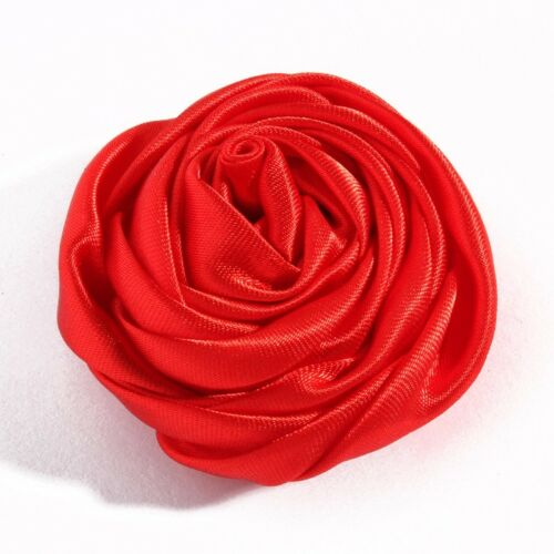 Handmade Rolled Soft Satin Rose Fabric Flowers For Girl Baby Headbands DIY 30pcs