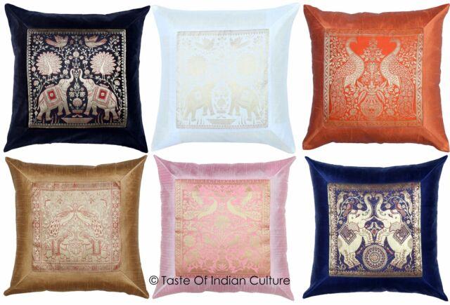 Indian Bed Bolster Cushion Cover Wedding Decor Brocade Silk Pillow Cases 30 x 15