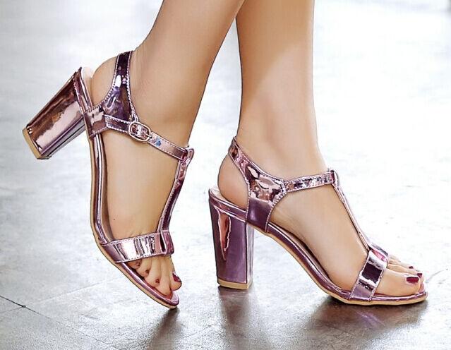 Sandalias de cuadrado mujer talón cuadrado de rosa violeta elegantes 7.5 cm cómodo 9314 1a7356