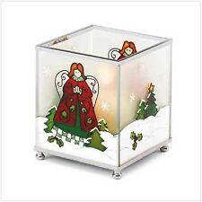 "Christmas Candleholder of glass, w- metal trim. 3 3/4"" x 3 3/4"" x 4 1/4"" square"