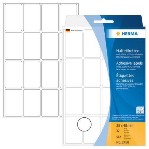 HERMA 2450 Vielzwecketiketten 25x40mm Papier 512 Stück selbstklebend matt weiß