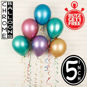 25-100-Pearl-Chrome-Latex-Ballons-Air-5-034-Taille-Achetez-2-Get-1-Free-Party-Decor-UK
