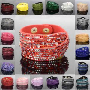 Leather-Wrap-Wristband-Cuff-Crystal-Rhinestone-Multilayer-Bracelet-Bangle-xinyu