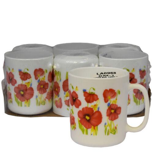 Flower Design 6pc Coffee Mug Flaire 32CL CM1 Opal Tea Coffee Mug Hot Drinks