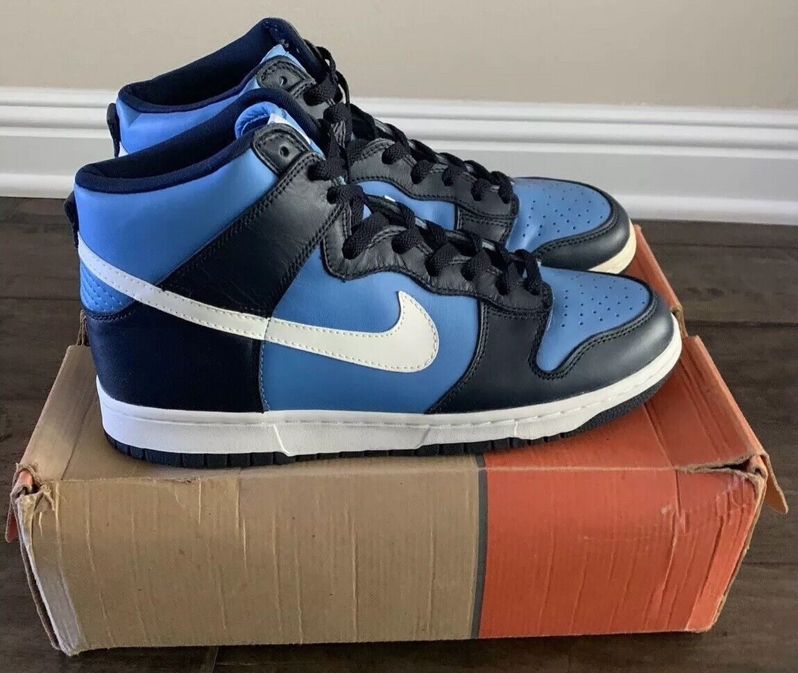 RARE 1999 Nike Dunk High Carolina bluee   Navy (DS With Box, SIZE 11, 630383 411)