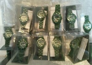 NEW-Wholesale-Job-lot-10-Boys-Green-Camouflage-Identity-London-Watches-RRP-150