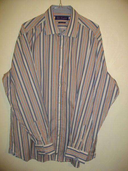 * Tyler Campbell * Blues/bianca A Righe Manica Lunga Reg Fit Shirt Sz Xl Rrp £ 55