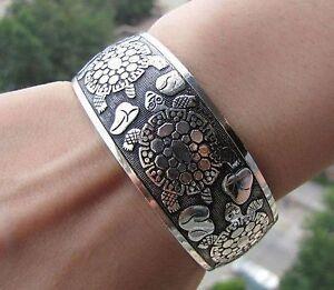 Mens / boys Jewellery, Tibet silver carved lucky turtle pattern bracelet