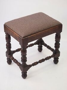 Image Is Loading Small Antique Victorian Oak Stool Gothic Piano Bench