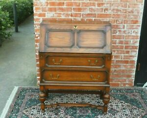 English-Antique-Oak-Jacobean-Front-Drop-Desk