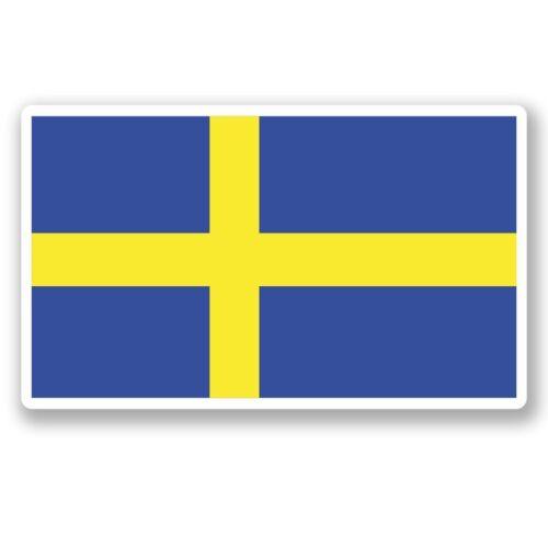 2 x Sweden Swedish Flag Vinyl Sticker Laptop Travel Luggage Car #5267