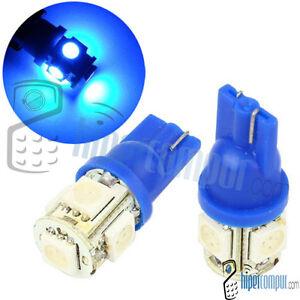 2-BOMBILLAS-LED-COCHE-T-10-W5W-5-SMD-12V-AZUL-BLUE-TIPO-XENON-8000K-T10