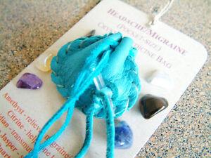 HEADACHE MIGRAINE CRYSTAL MEDICINE BAG Pocket Size Deer Pouch + Reiki Gemstones