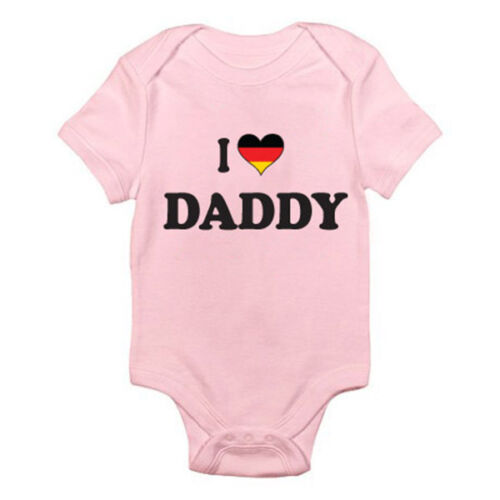 Father I LOVE DADDY Dad German Germany Novelty Themed Baby Grow Suit