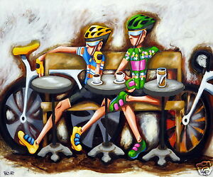 New-Canvas-Art-Print-Cycle-Series-by-Andy-Baker-Bald-Art-Bikes-Coffee-Art