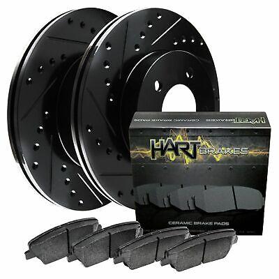 Brake Rotors POWERSPORT BLACK DRILL//SLOT /& PADS-Toyota ECHO 2001-2005 FRONT