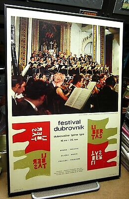 DUBROVNIK Summer Festival vtg poster Croatia lithograph 1970s classical music