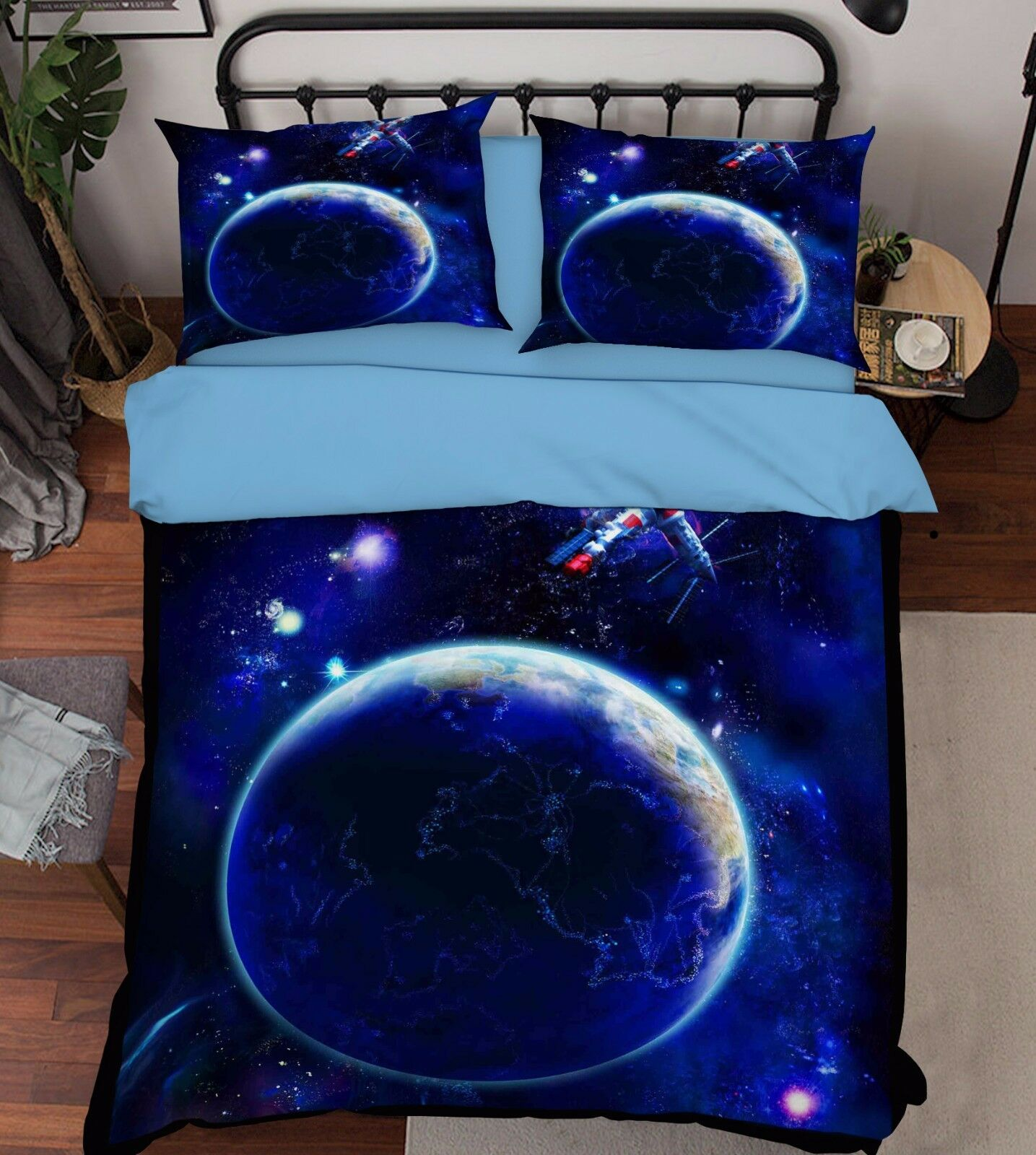 3D Earth Bule  806 Bed Pillowcases Quilt Duvet Cover Set Single Queen UK Summer