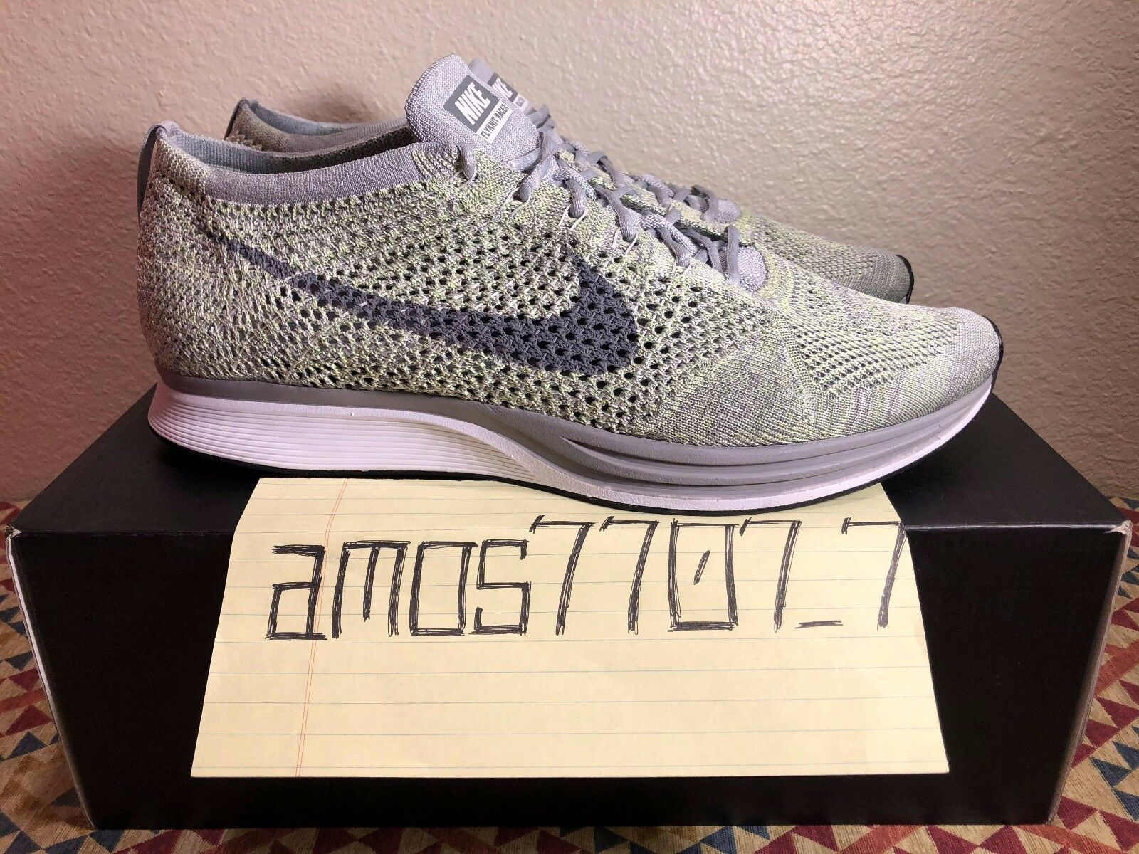 Nike Flyknit Racer Macaroon Pack Ghost Green White Grey 526628 013 Men Size 13