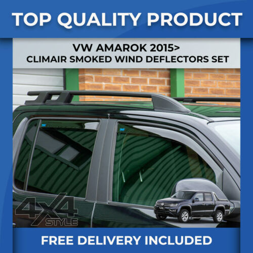 VW AMAROK 2015/> GENUINE CLIMAIR FRONT /& REAR SMOKED TINITED WIND DEFLECTORS SET