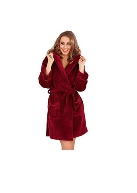Womens Ladies Fleece Fluffy Dressing Gown Small S Burgendy Wine Dark