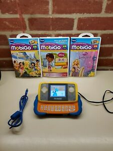 Vtech Mobigo Touch Learning System Blue and Yellow 3 Games Tested Working