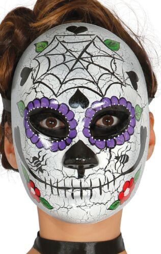 Ladies Day Of The Dead Sugar Skull Mexican Fancy Dress Costume Mask Halloween
