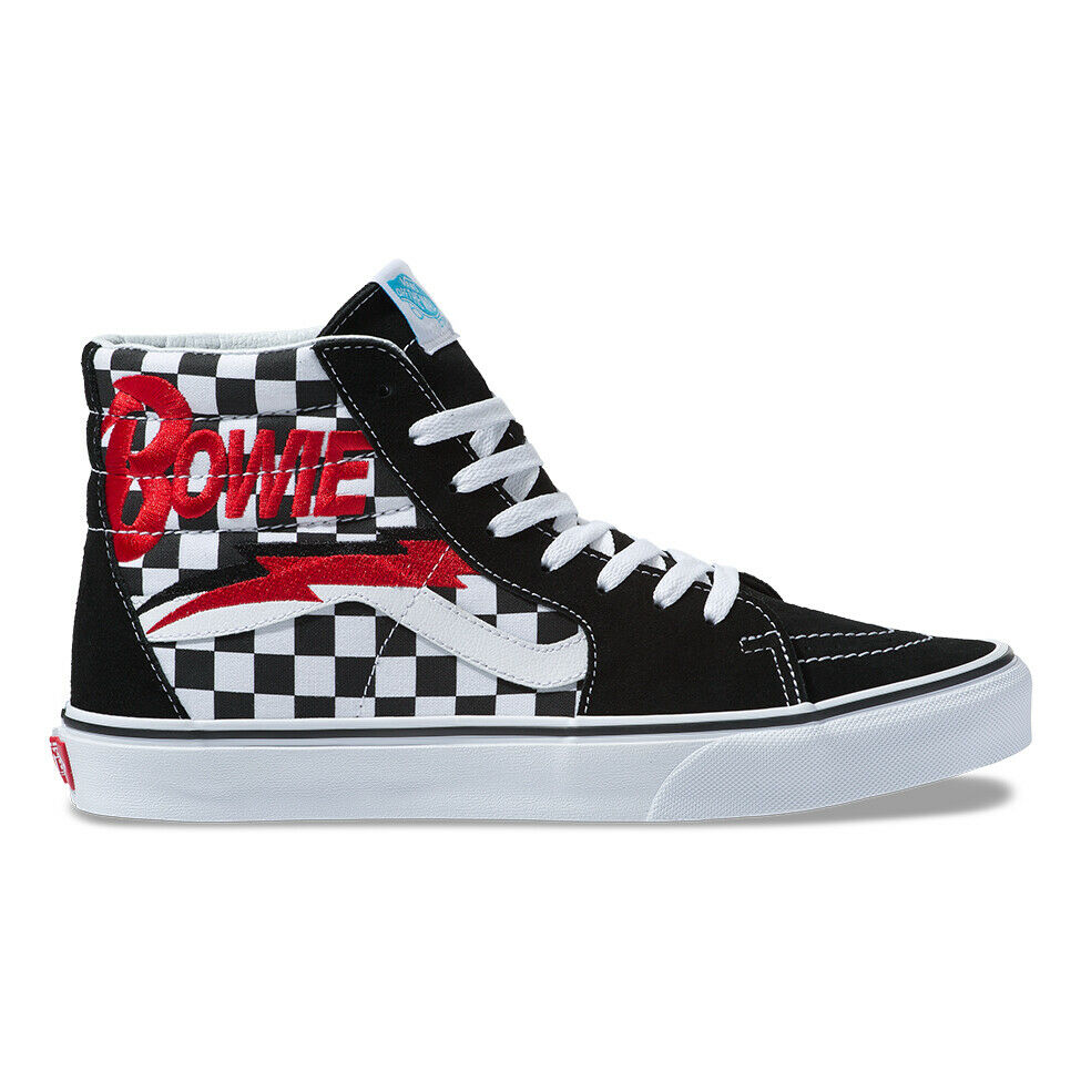 New VANS X DAVID BOWIE SK8-Hi Black Checkerboard Sneakers Limited Edition 2019