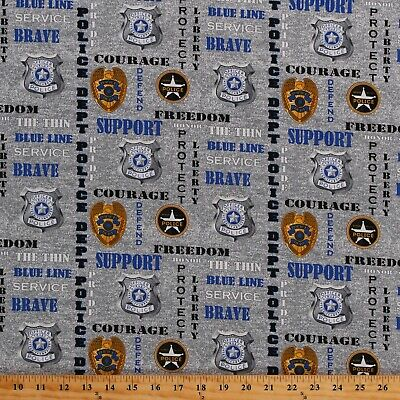 Sykel Police Quilt Fabric Words Style 1181PD Heather