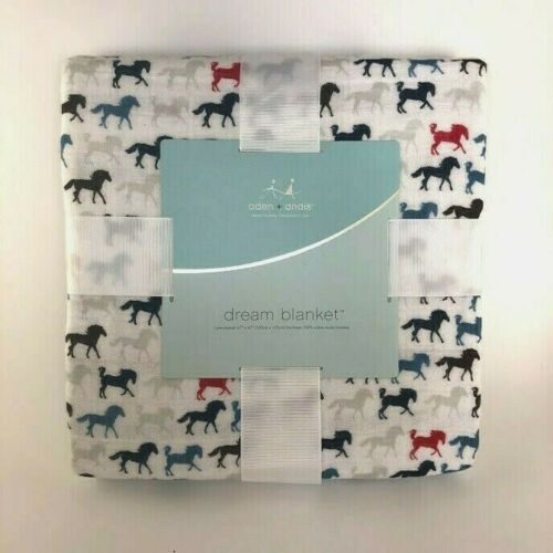 "Anais DREAM BLANKET Horses 100/% Soft Cotton Muslin 47/"" x 47/"" 4 layers Aden"