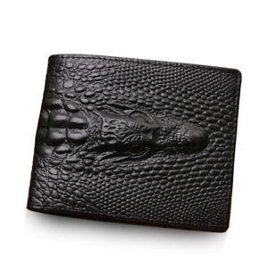 Crocodile-Skin-Wallet-Men-Genuine-Leather-Small-Zipper-Short-Alligator-Purse