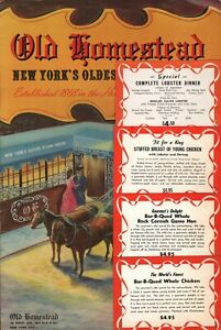 Vintage OLD HOMESTEAD STEAK HOUSE Restaurant Menu New York City New York