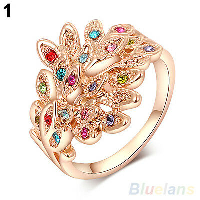 Women's Austrian Crystal 9K Gold Plated Dreamed Rhinestone Peacock Wedding Ring