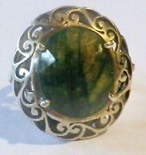 Bague argent 925 pierre naturelle vert marbré à facettes bijou vintage T.55 p